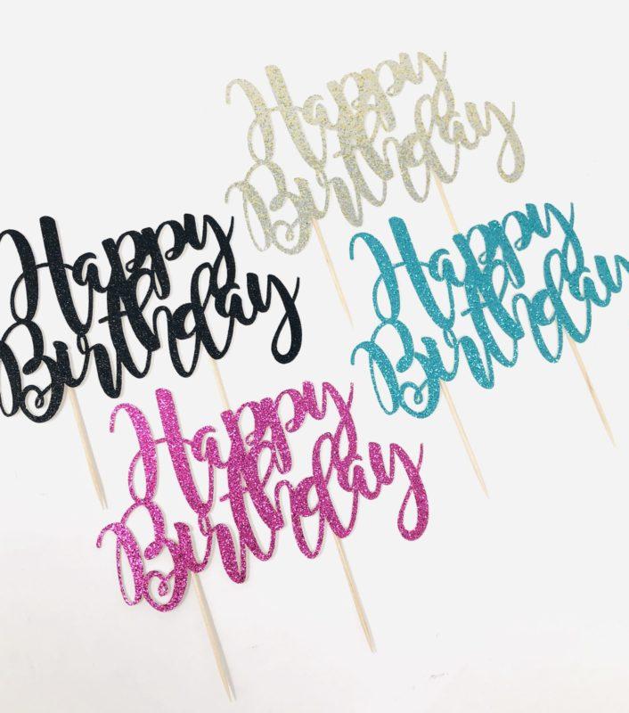 Glitter 'Happy Birthday' Cake Topper
