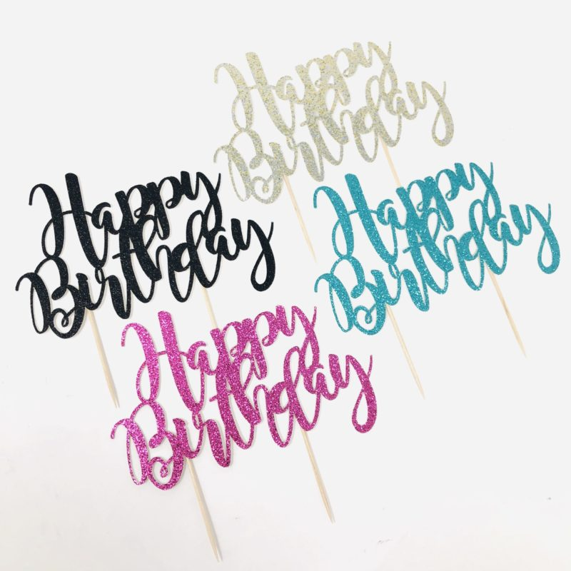 Glitter 'Happy Birthday' Cake Topper