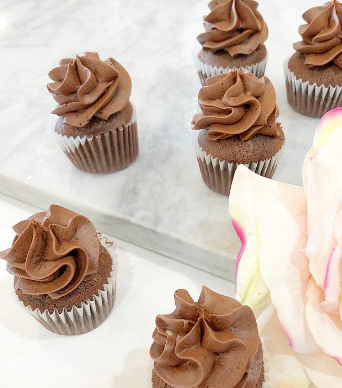 Classic Black Chocolate Mini Cupcakes
