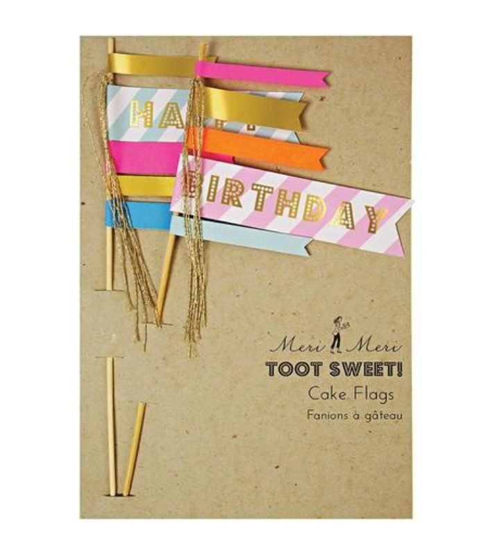 'Happy Birthday' Flag Cake Toppers