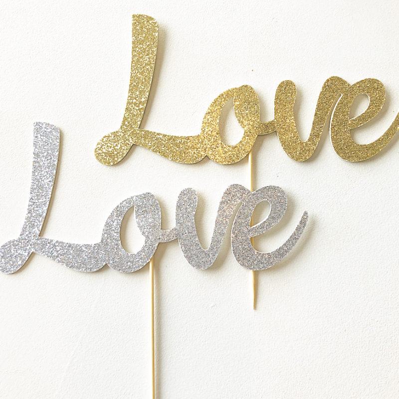 Glitter 'love' Cake topper