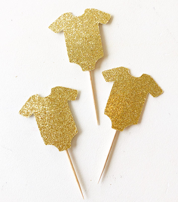 Glitter Baby Cupcake Toppers