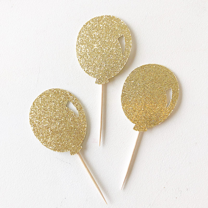Glitter Balloon Cupcake Toppers