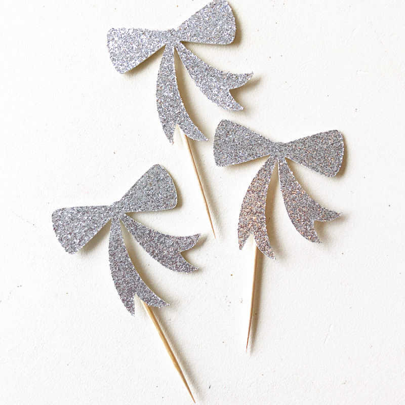 Glitter Bow Cupcake Toppers