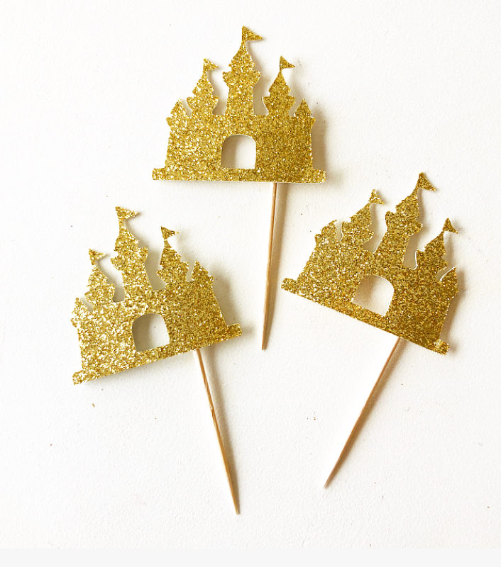 Glitter Castle Cupcake Toppers