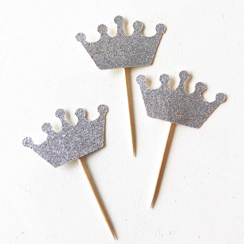 Glitter Crown Cupcake Toppers