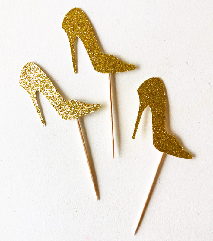 Glitter High Heel Cupcake Toppers