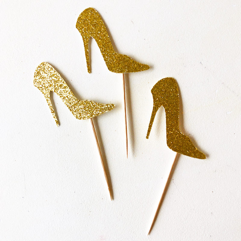 Glitter High Heel Cupcake Toppers
