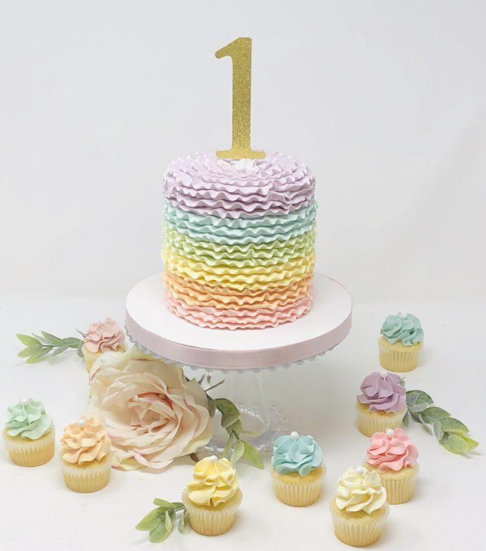 Rainbow Ruffle Smash Cakes