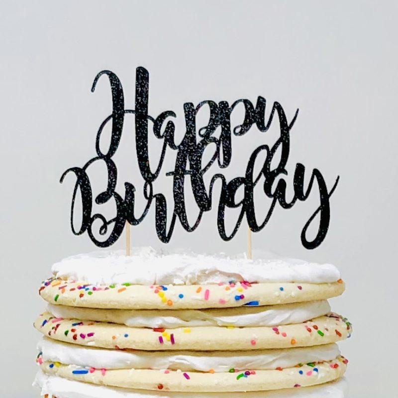 Black Glitter 'Happy Birthday' Cake Topper