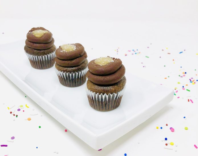 Vegan Chocolate Salted Caramel Mini Cupcakes