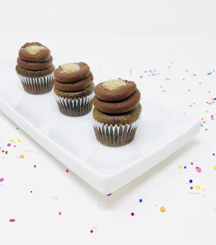 Vegan Chocolate Salted Caramel Mini Cupcakes