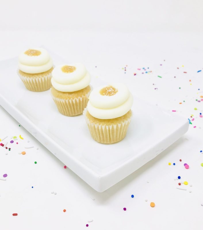 Vegan Vanilla Salted Caramel Mini Cupcakes