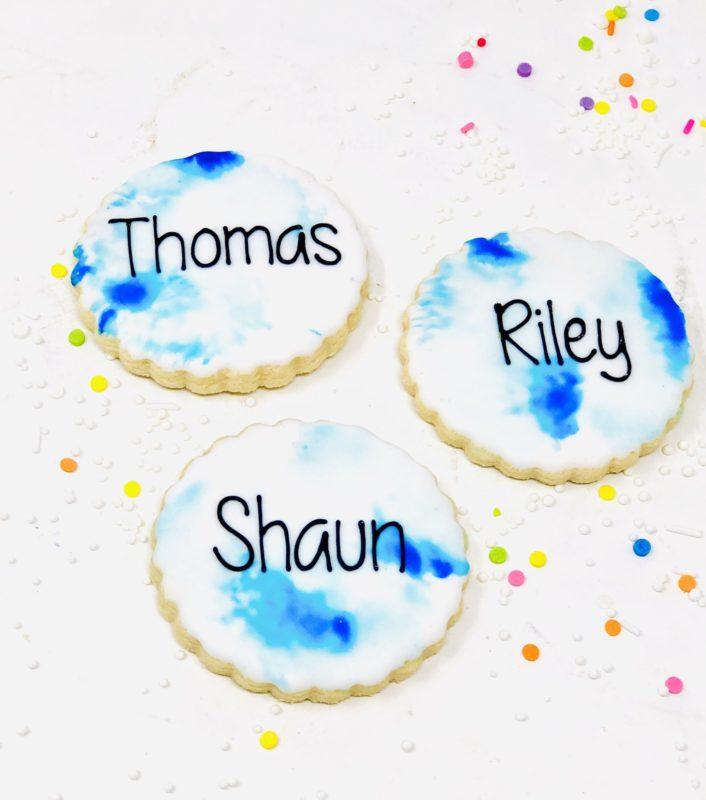 Blue Watercolour Mini Cookies