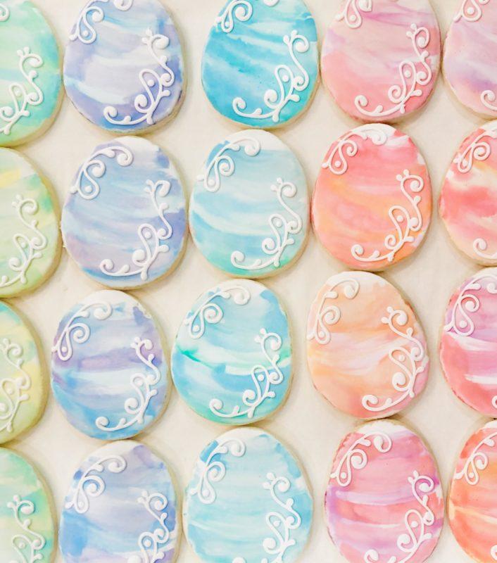 VEGAN Watercolour Easter Egg Cookies (6)