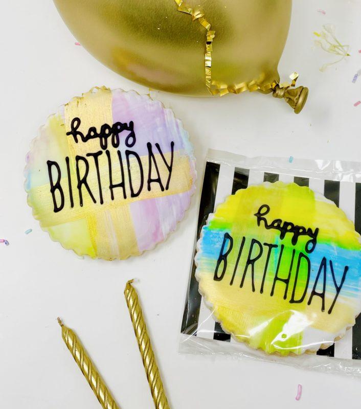 Vegan Watercolour Happy Birthday Cookie