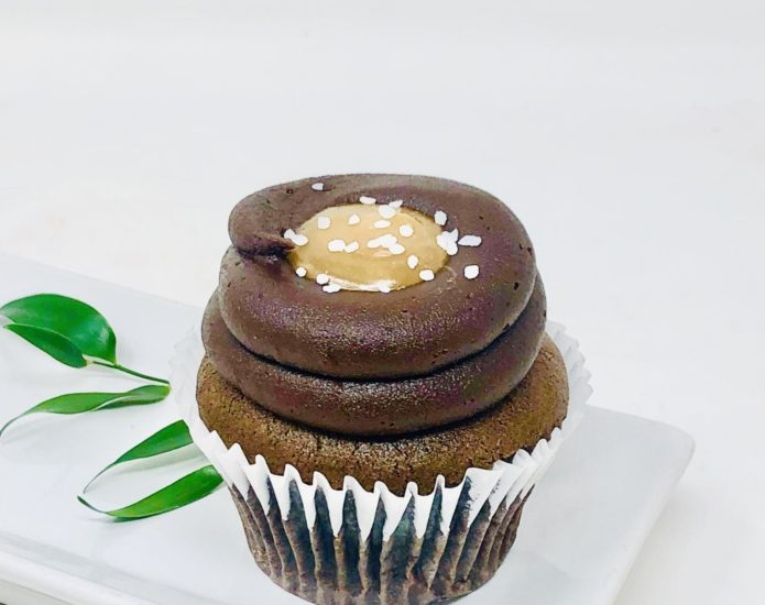 Vegan Chocolate Salted Caramel Cupcakes