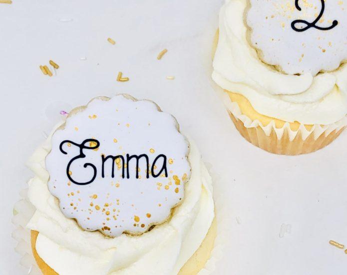 White & Gold Cupcakes