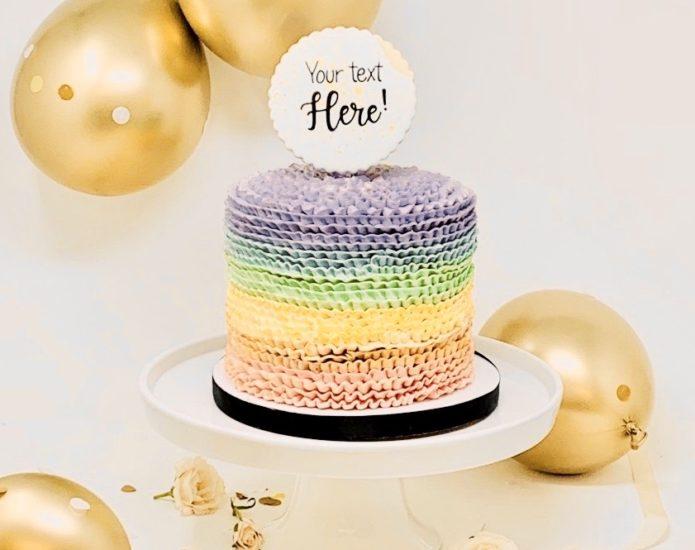 Luxe Rainbow Ruffle Cakes