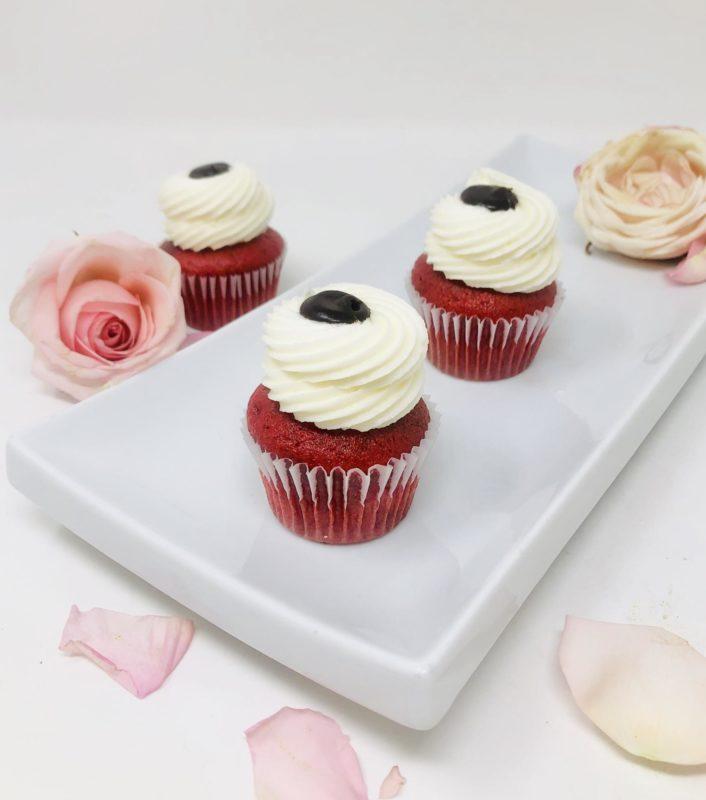 Red Velvet Ganache Mini Cupcakes