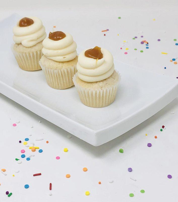 Vegan Vanilla Caramel Mini Cupcakes