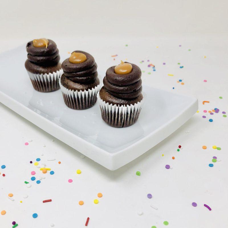 Vegan Chocolate Caramel Mini Cupcakes