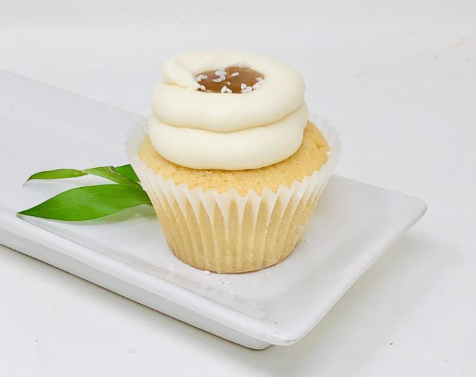 Vegan Vanilla Salted Caramel Cupcakes