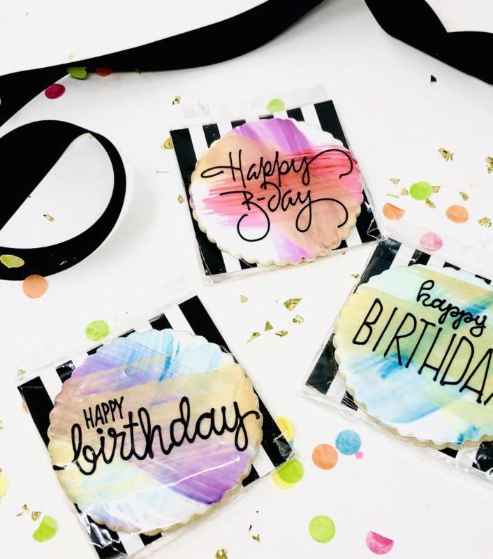 Watercolour Happy Birthday Cookie