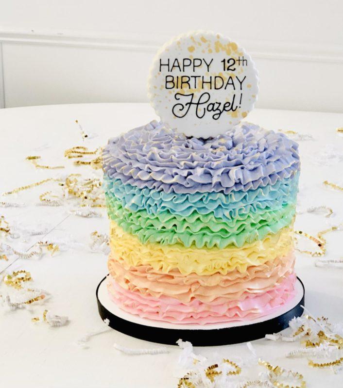 Luxe Rainbow Ruffle Cake