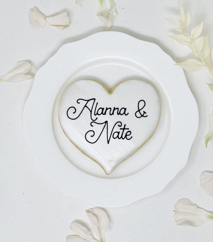 Brushed Heart Wedding Cookies