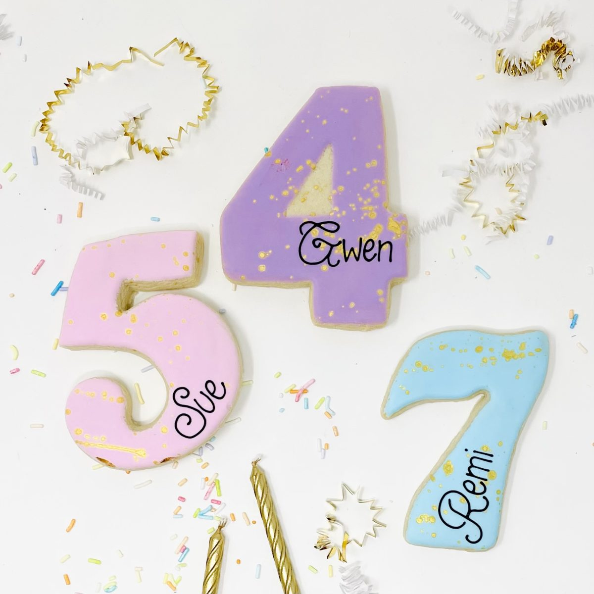 Personalized Coloured Number Cookies