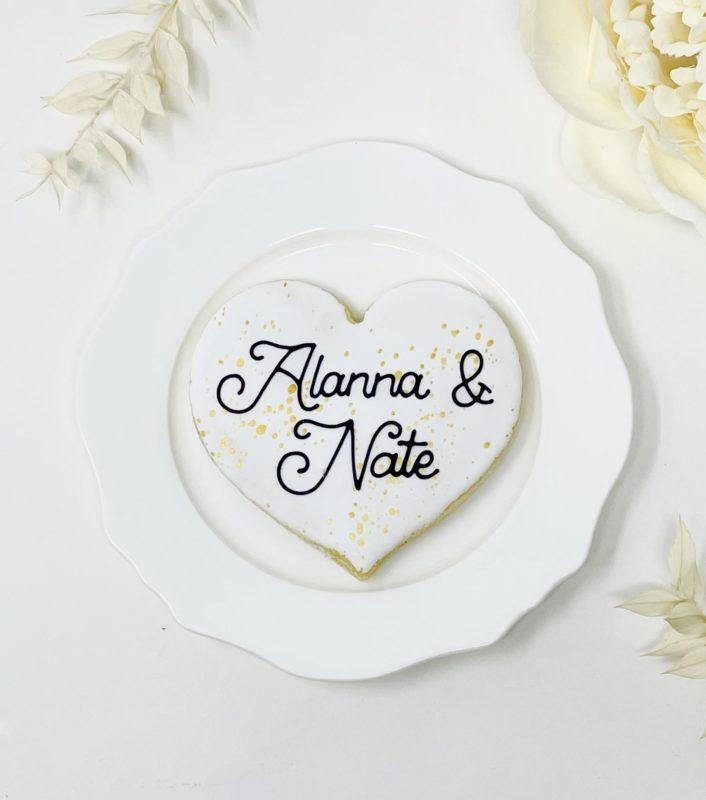 Speckled Heart Wedding Cookies