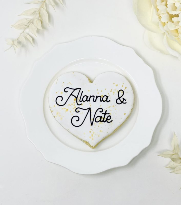 Personalized Heart Wedding Cookies