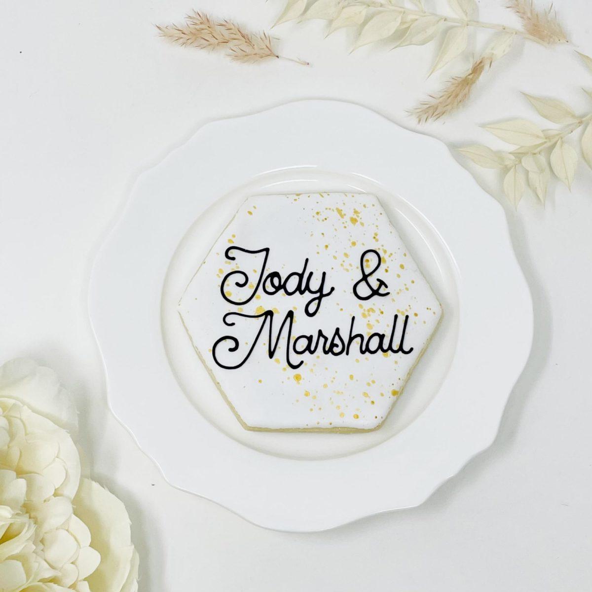 Personalized Hexagon Wedding Cookies