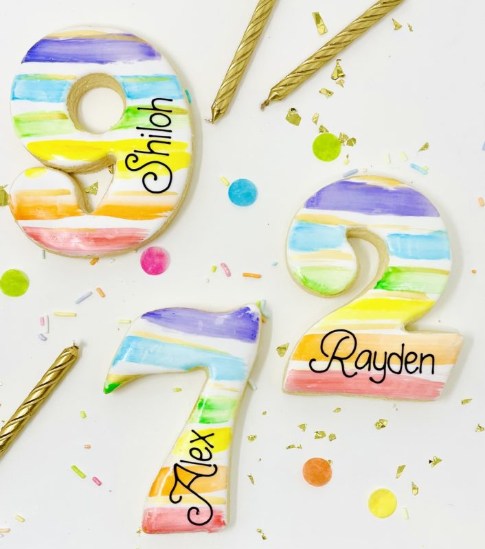 Personalized Rainbow Number Cookies