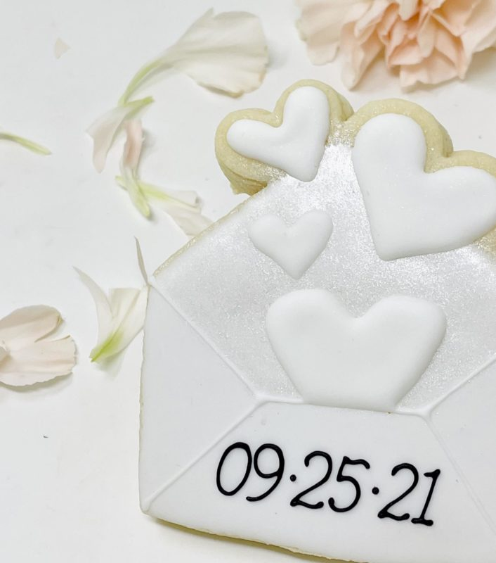 Vegan Save the Date Envelope Cookies