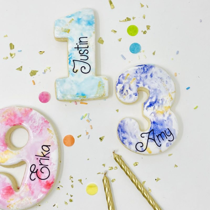 Personalized Watercolour Number Cookies