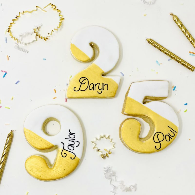 Personalized Gold Number Cookies