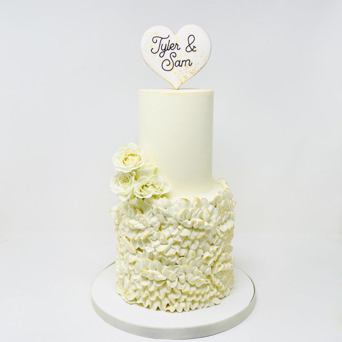 Ruffled Rose Wedding Cake