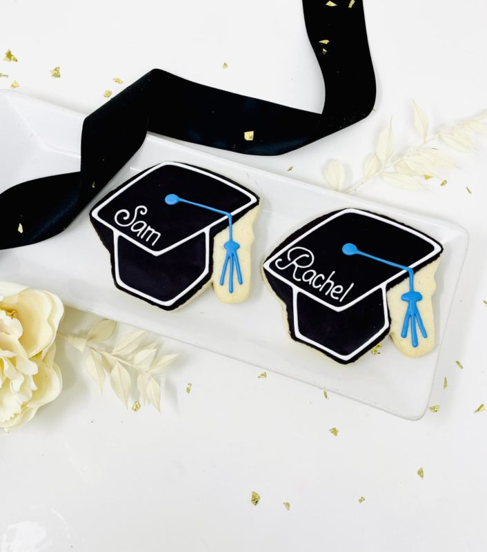 Vegan Personalized Grad Hat Cookies