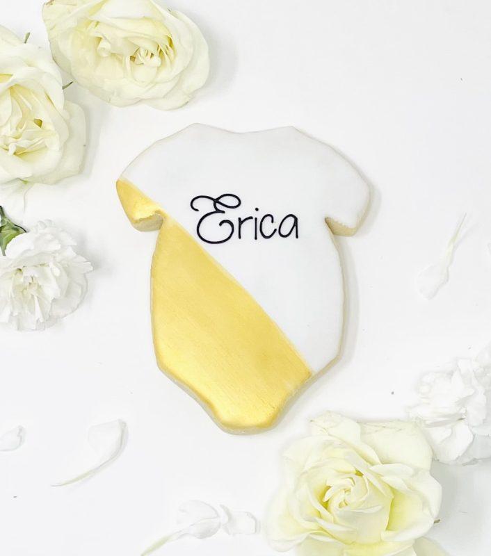 Vegan Personalized Gold Onesie Cookies