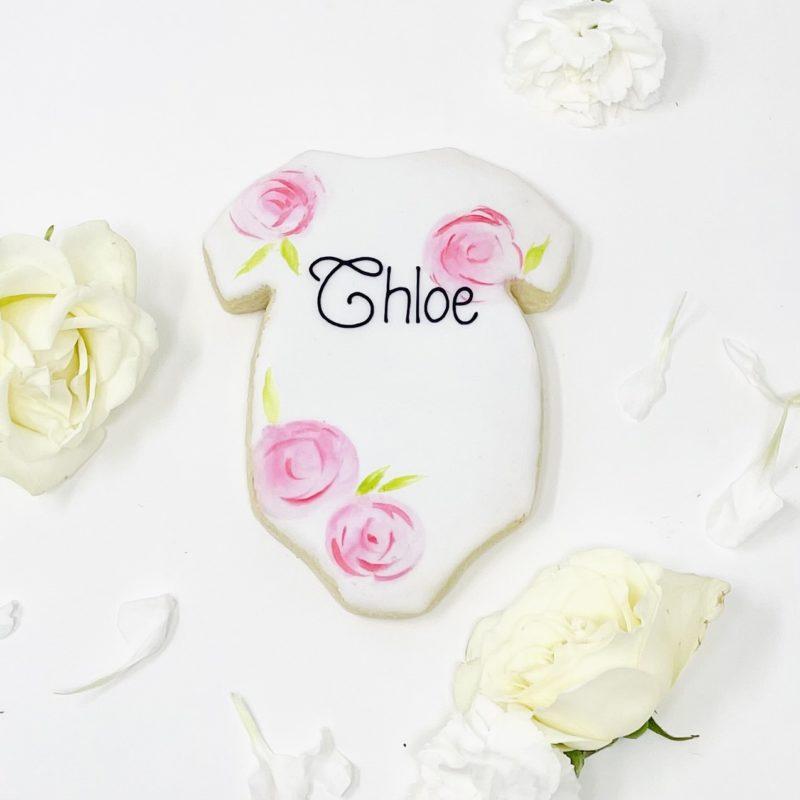 Personalized Rose Onesie Cookies