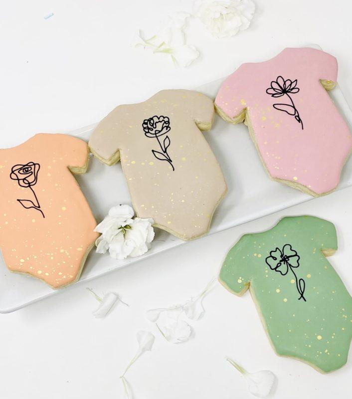 Vegan Flower Onesie Cookies