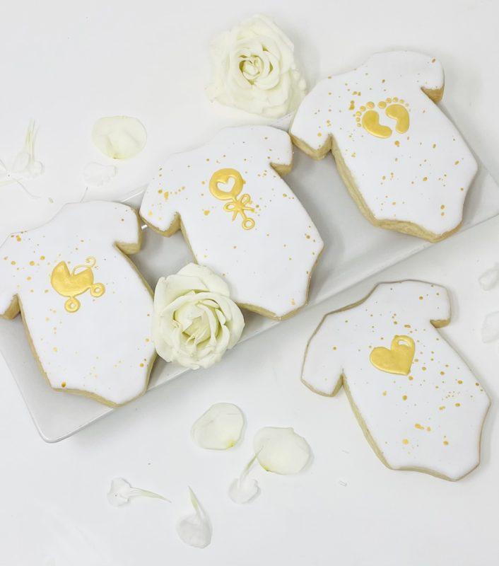 Vegan Silhouette Gold Onesie Cookies