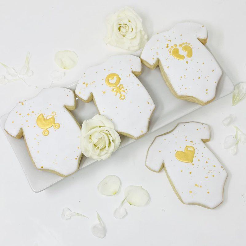 Silhouette Gold Onesie Cookies