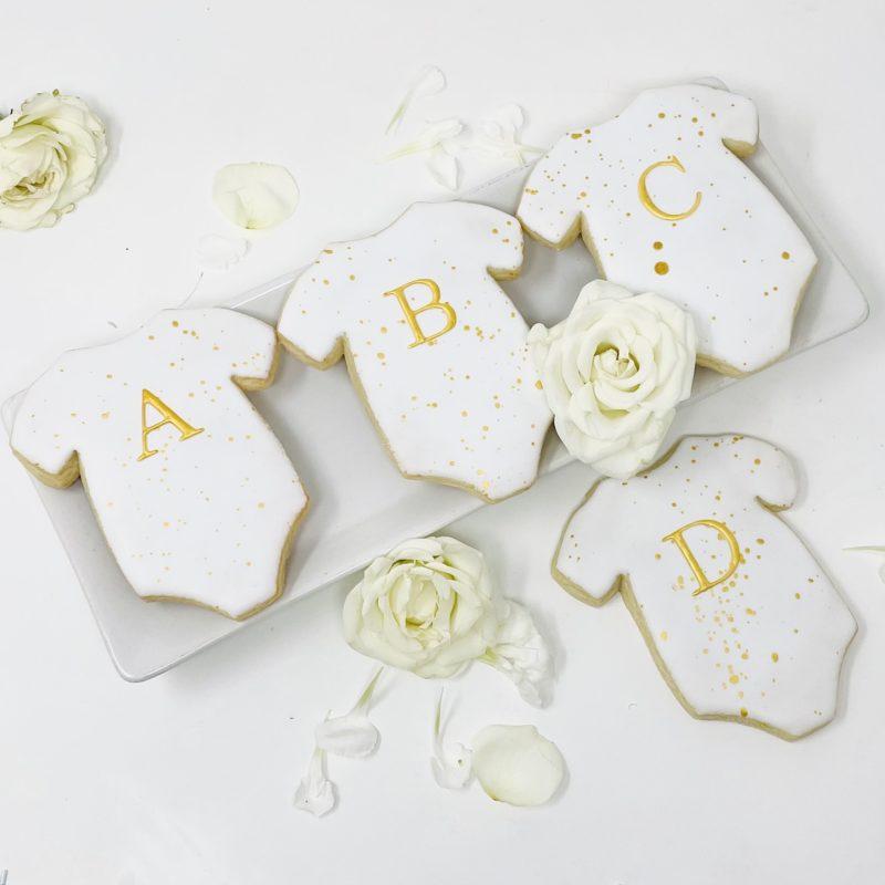 Monogrammed Gold Onesie Cookies