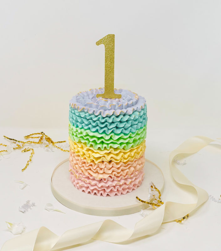 Luxe Rainbow Ruffle Smash Cake