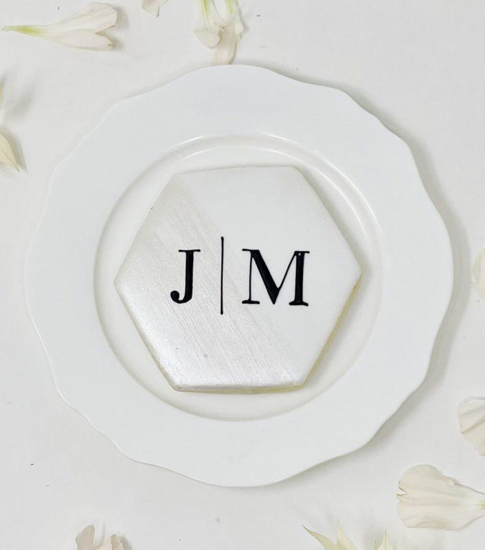 Monogrammed Hexagon Wedding Cookies