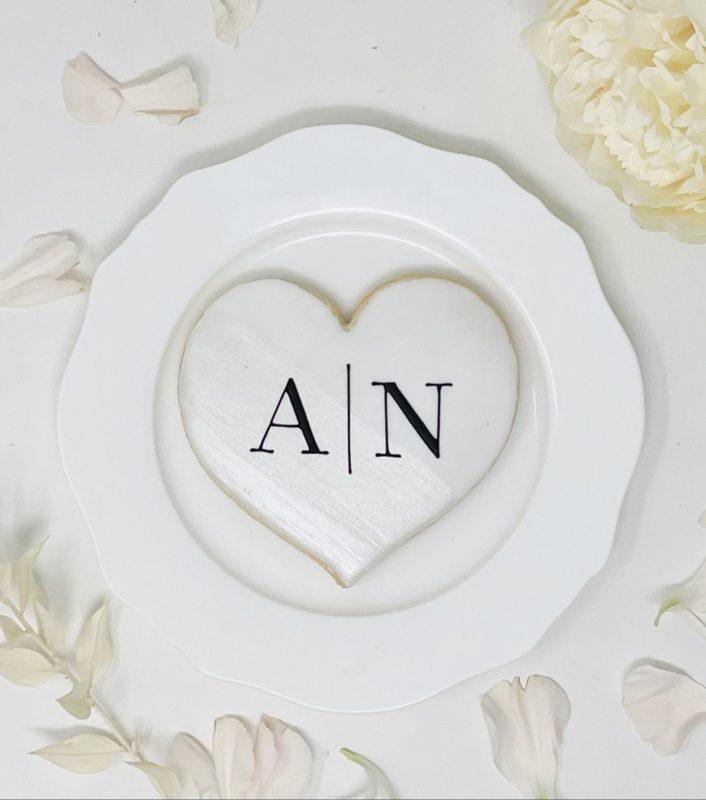 Monogrammed Heart Wedding Cookies