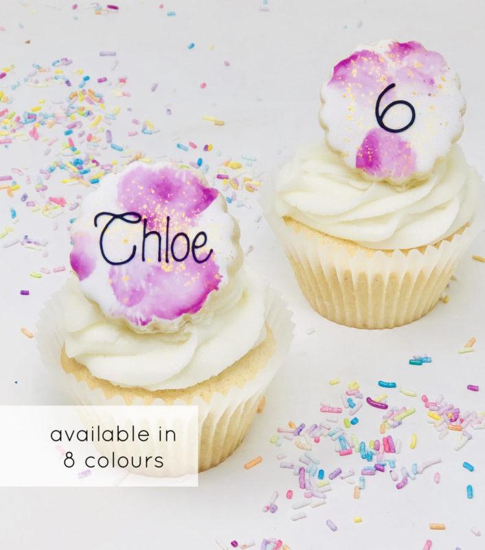 Vegan Personalized Watercolour Cupcakes